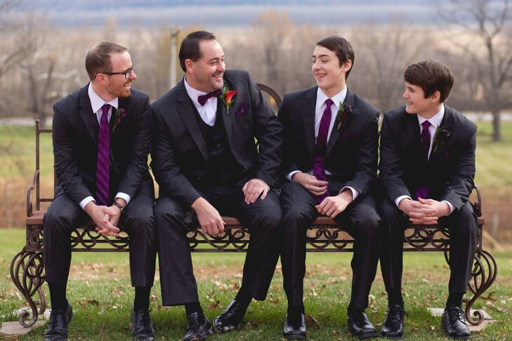 Traditional Black Three-Piece Suits with Dark Plum Ties and Bow Ties