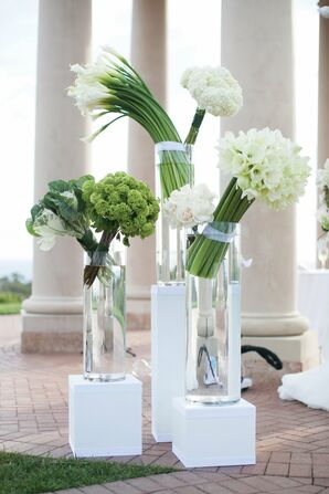 Modern Green and White Ceremony Arrangements