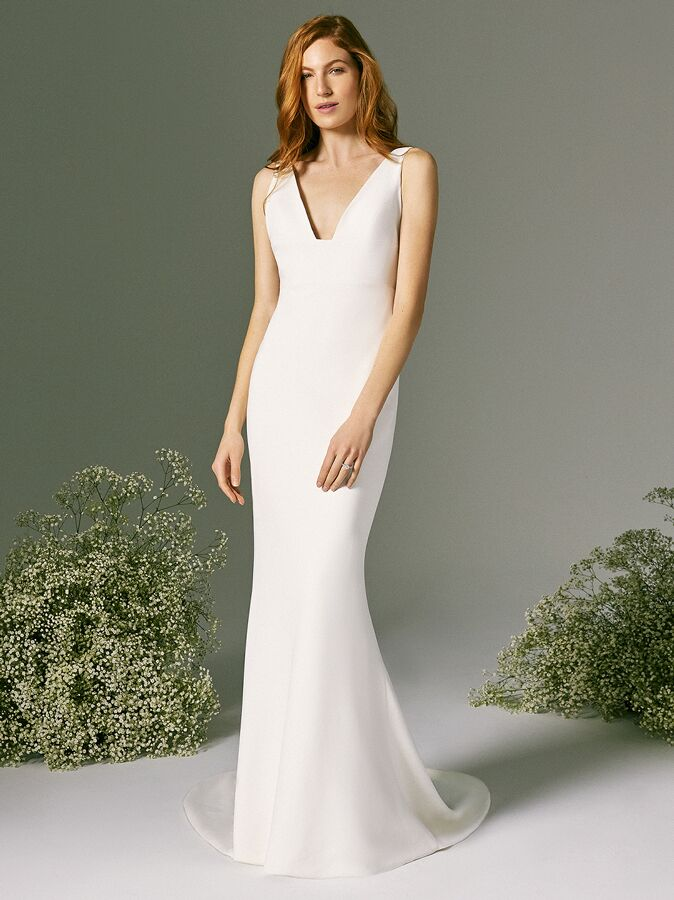 Savannah Miller wedding dress with V-neck and arm streamers