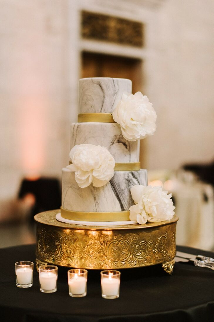 Modern Marbleized Wedding Cake with White Peonies and Gilded Cake Stand