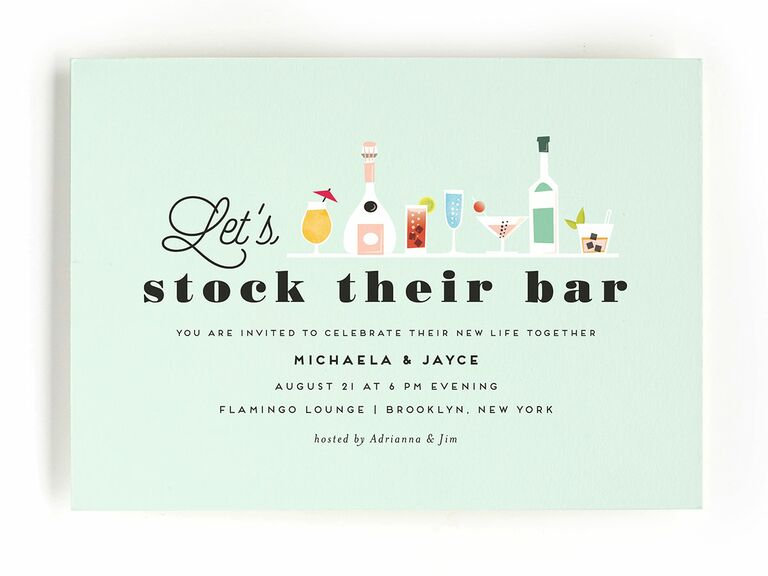 Blue stock the bar engagement party invitation