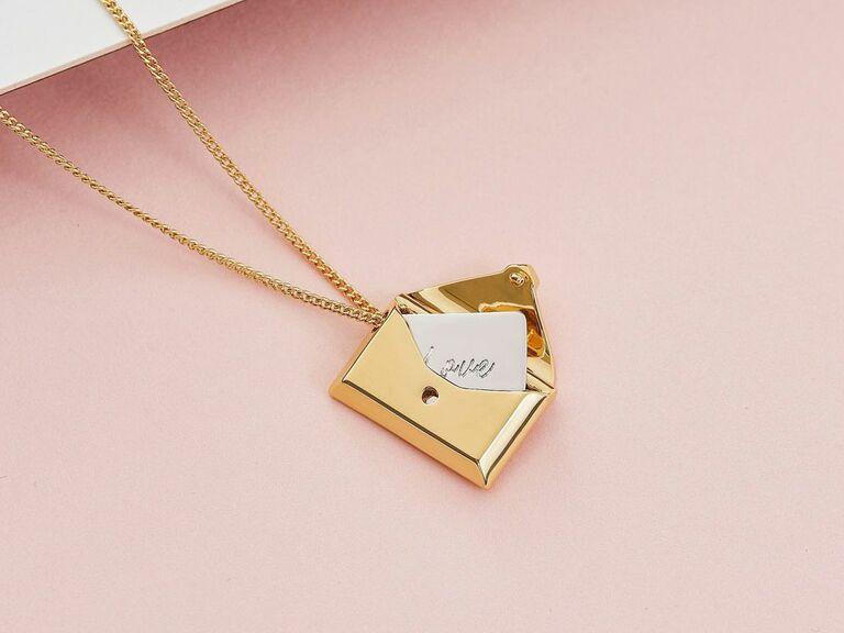 envelope necklace with love letter inside locket