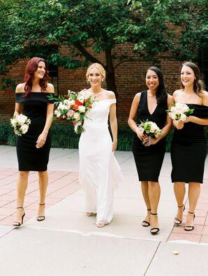 Elegant Bride and Modern Bridesmaids with Short Black Dresses