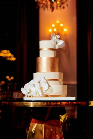 White-and-Gold Cake for Wedding at The Gramercy at Lakeside Manor in New Jersey