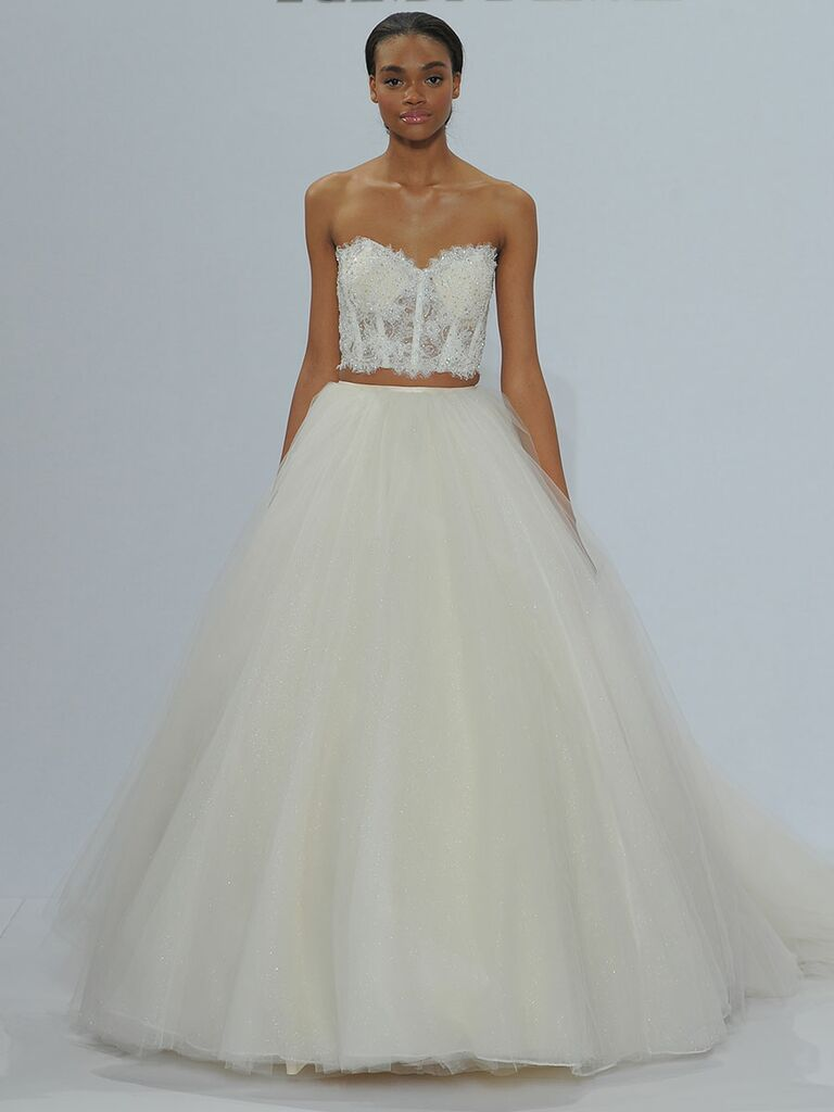 Randy Fenoli Spring 2018 sweetheart crystal beaded sheer boned lace top with separate full gathered sparkling tulle skirt