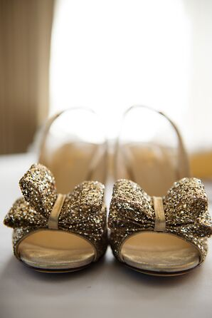 Sparkly Gold Kate Spade Shoes with Bows