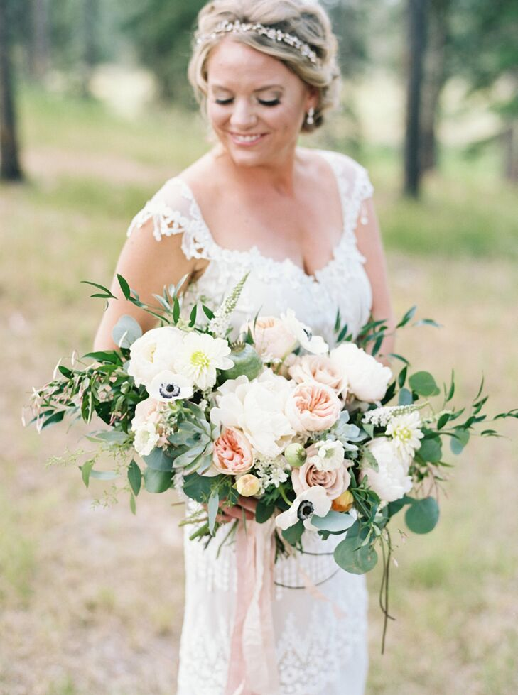 All the florals included some variation of peonies, caramel antique garden roses, juliet garden roses, cafe au lait and white dahlias, white scabiosa, anemones, eucalyptus, poppy pods and succulents.