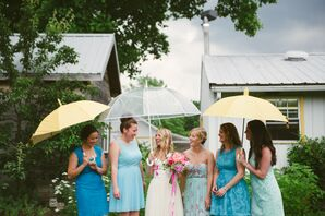 Lace and Floral Blue Bridesmaid Dresses