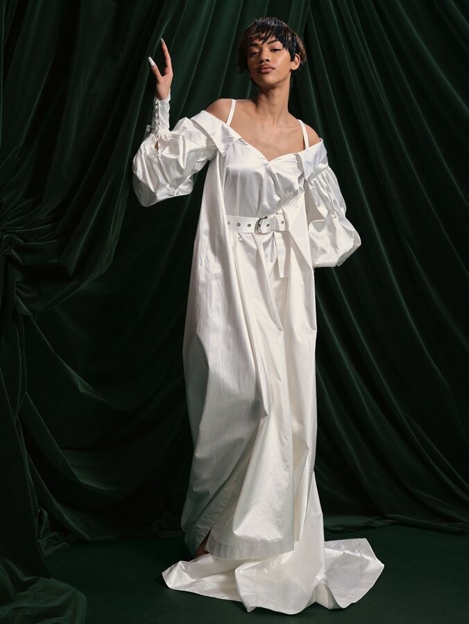 Wiederhoeft satin wedding dress with belt