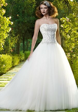 Strapless Ball Gown Wedding Dresses with Diamonds