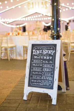 Rustic Black-and-White Love Story Chalkboard