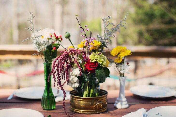 Colorful arrangements of wildflowers decorated the reception tables.