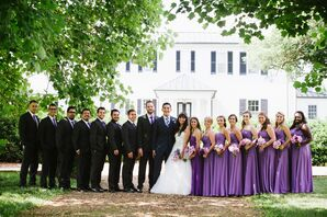 Wedding Party in Purple and Gray for Spring Wedding
