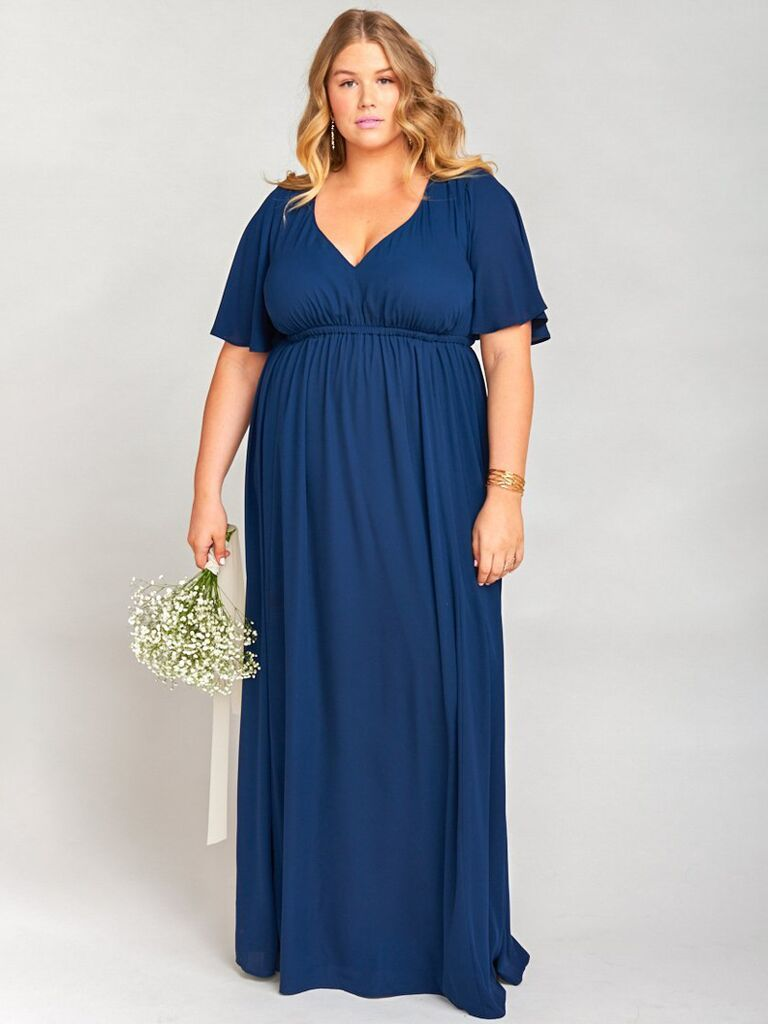 show me your mumu navy winter bridesmaid dress with short sleeves