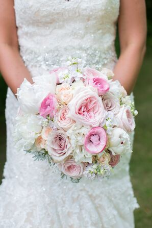 Bridal Bouquet with Roses, Ranunculus, Peonies and Dusty Miller