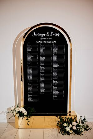 Black Seating Chart for Wedding at The Gramercy at Lakeside Manor in New Jersey