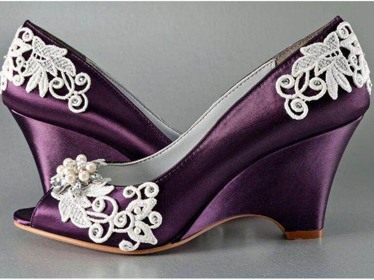 Pink2Blue custom lace wedding wedges in Purple