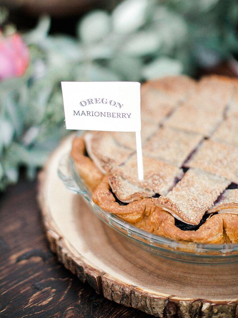 Pie for a fun BBQ wedding reception dessert