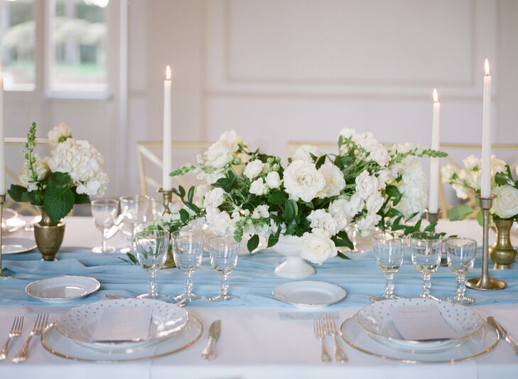 Place Settings with White Peonies and Candles