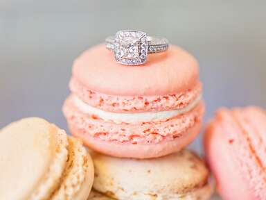 light pink macaron with wedding ring