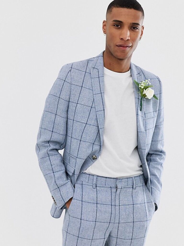 9907386025 Blue windowpane suit men's beach wedding attire