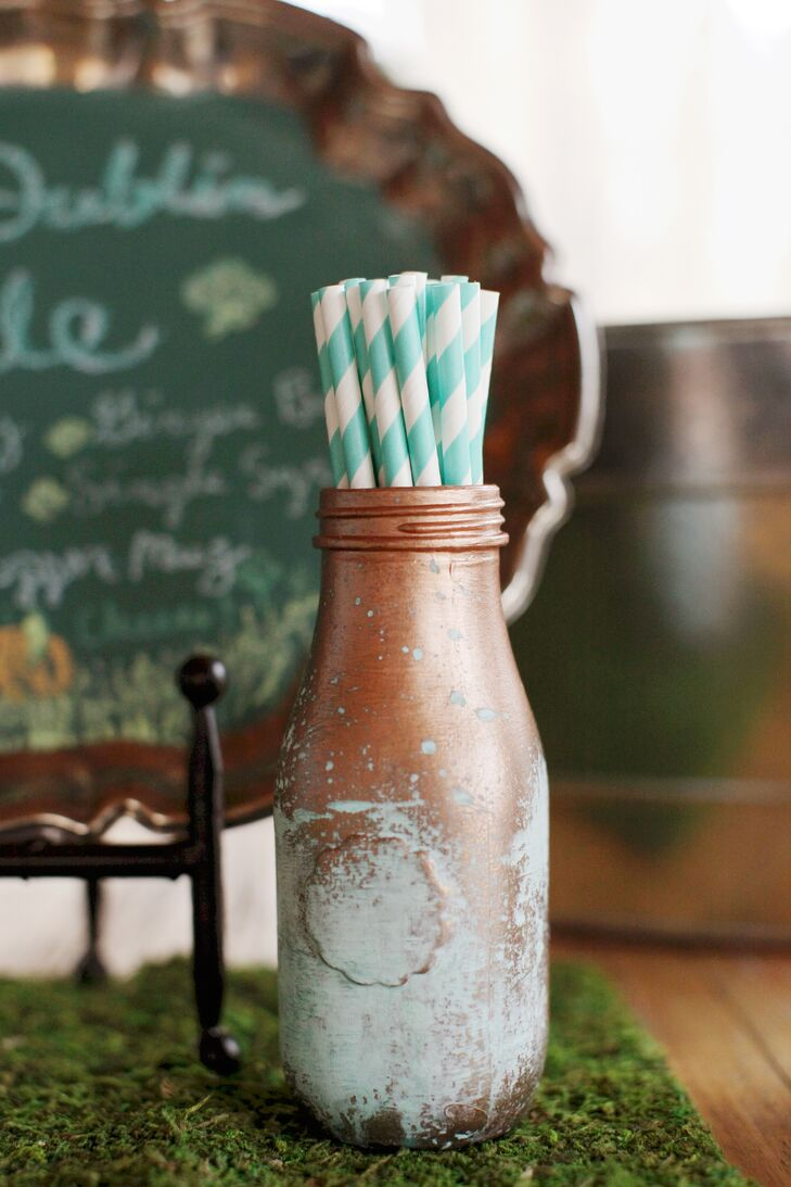 Jars were painted copper and patina to match the rustic theme.