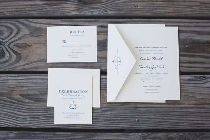 Nautical Wedding Invitations With Anchor Motif
