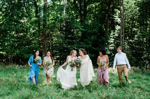Bohemian Brides and Wedding Party at Vera Flora Farm in Gilsum, New Hampshire