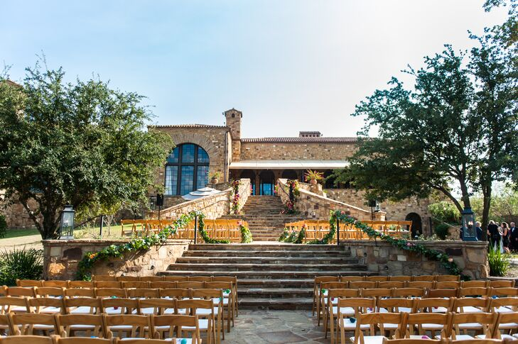 "The outdoor setting at Escondido Golf & Lake Club in Horseshoe Bay, Texas, was picture perfect for Ferrell and Jason. ""We were married on the staircase outside Escondido's clubhouse on the golf course. It was a gorgeous setting,"" Ferrell says."