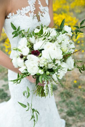 White Ranunculus and Rose Bouquet with Cascading Greenery