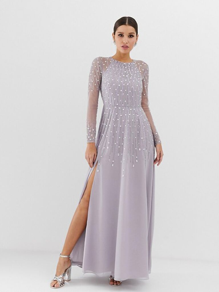 Lilac gray bridesmaid dress with sequins