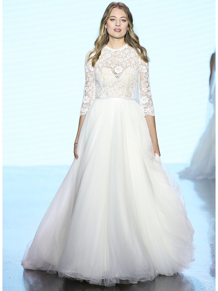 Watters wedding dress long-sleeve lace ball gown