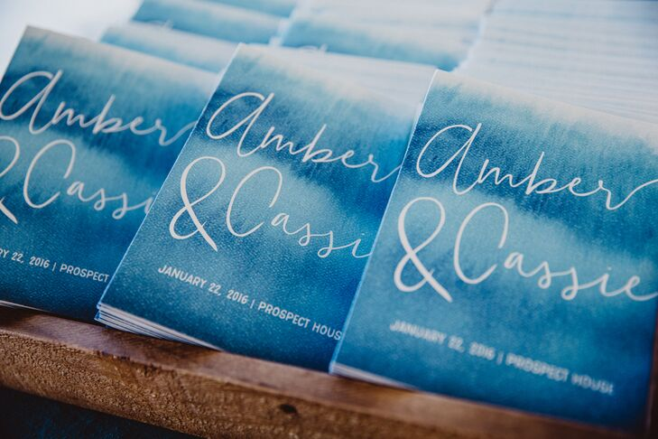 Blue Watercolor Programs with Hand-Lettered Script