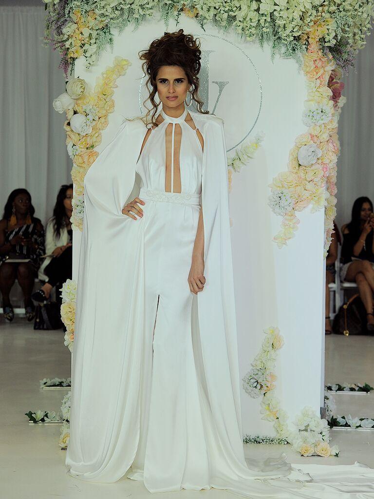 Julie Vino Fall 2018 silk wedding dress with cape