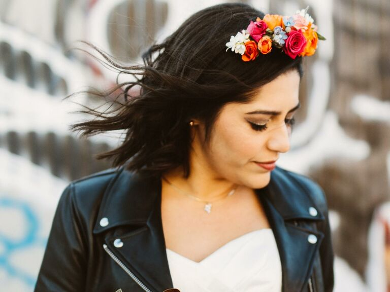 Loose waves with unique flower headband on top