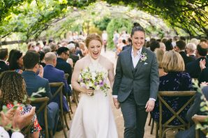 Couple Recessing at Romantic Vineyard Ceremony