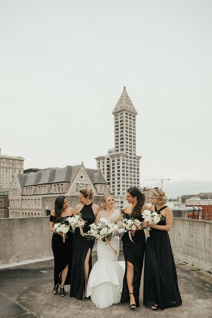 Modern Bride, White Bouquets and Bridesmaids with Long Black Dresses on Rooftop