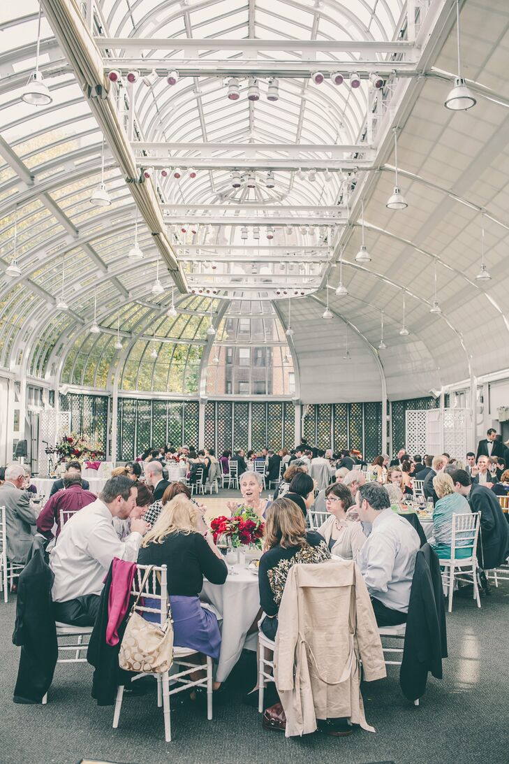 The airy glass-walled Palm House offered guests stellar views of the garden and the changing autumn leaves.