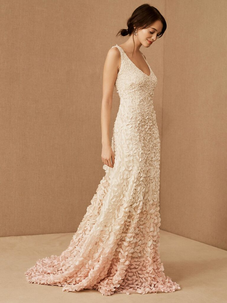 Theia sheath dress with 3-D petal embellishments and white to pink ombre effect