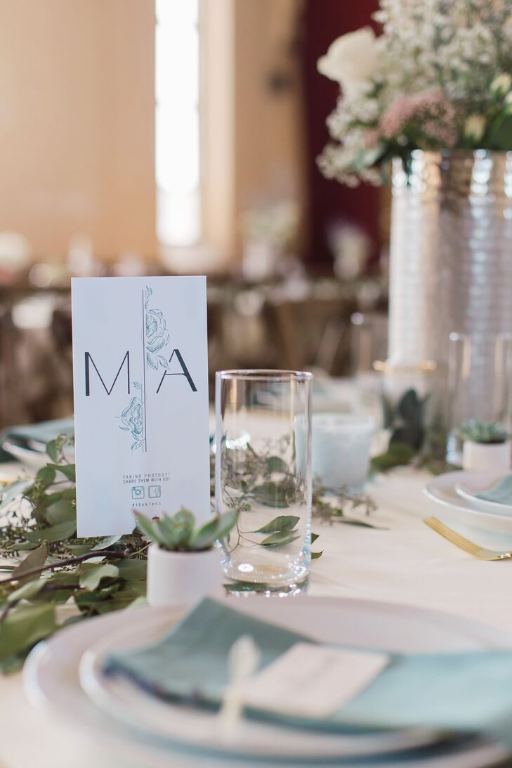 Modern Table Number and Garland Runner