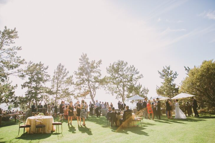 "After the ceremony, guests picked up cocktails and appetizers and took in views of the Pacific Ocean from artfully arranged ""comfort zones"" comprising plush couches, armchairs and coffee tables."