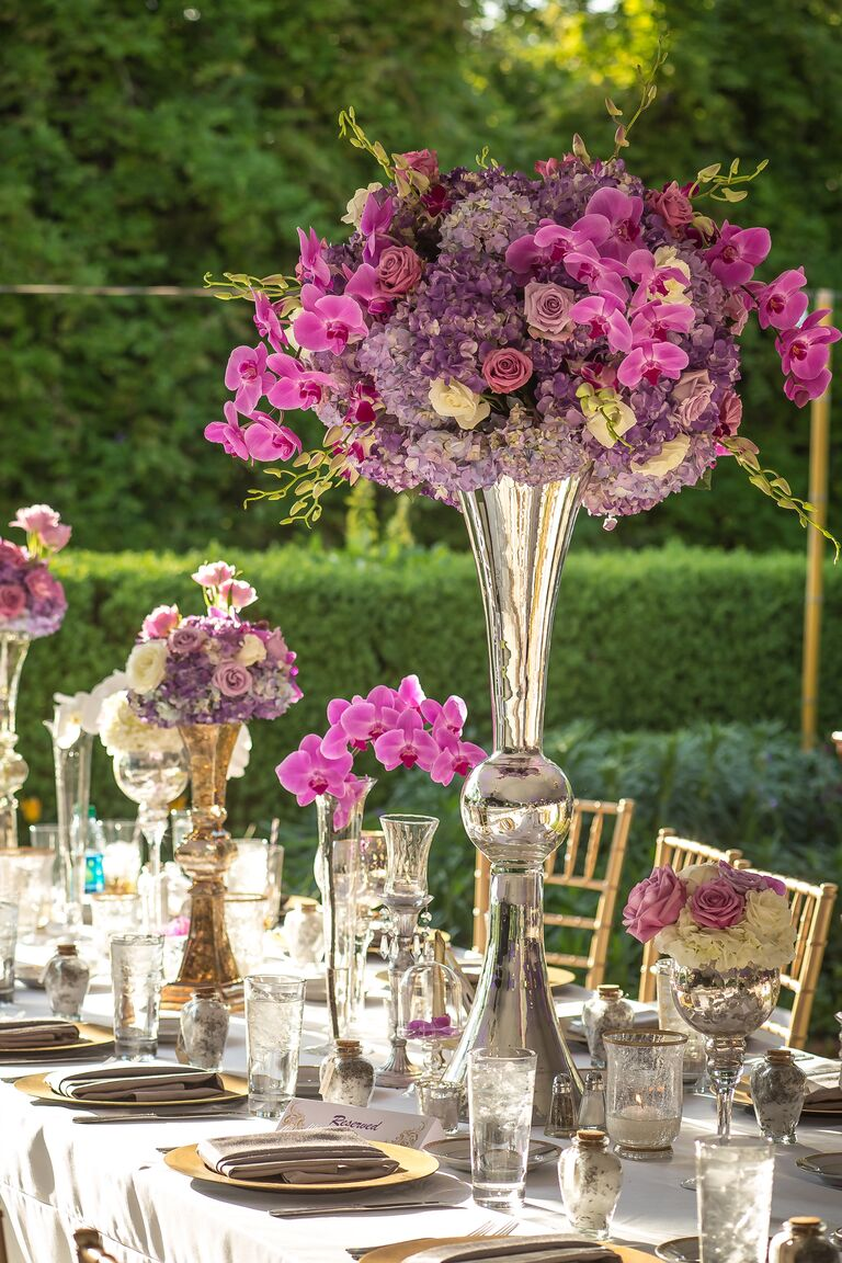 Radiant orchid tall reception centerpiece