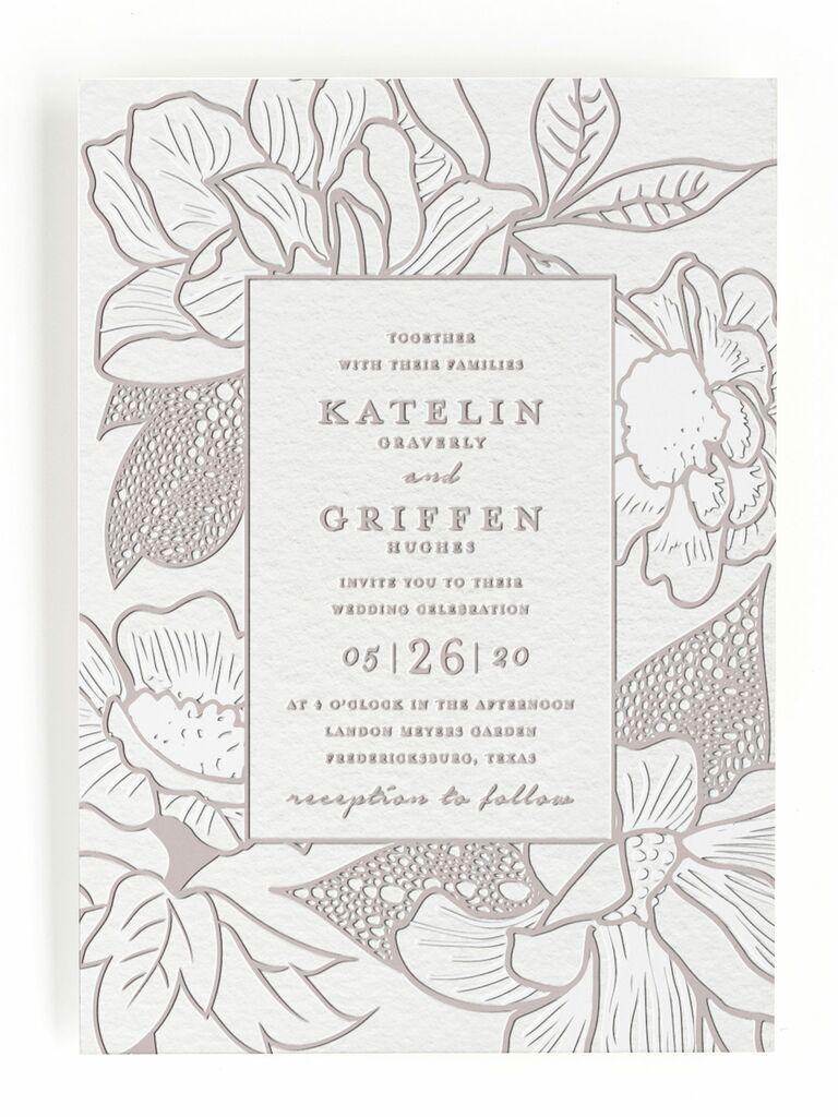 Minted floral letterpress spring wedding invitation