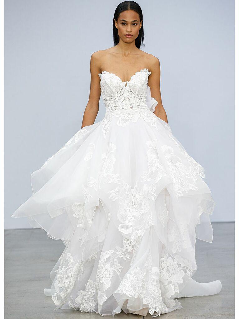 Pnina Tournai wedding dress tiered a-line gown