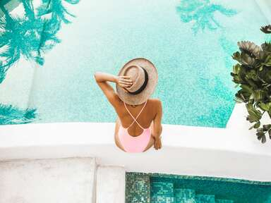 Woman tanning, sunburn