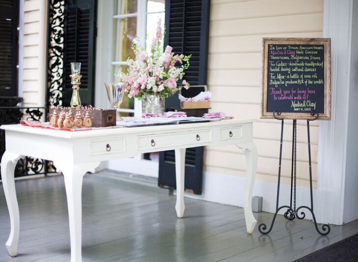 Vintage Favor and Guest Book Table