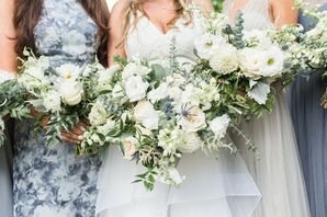 White Bouquets with Peonies, Dahlias and Greenery