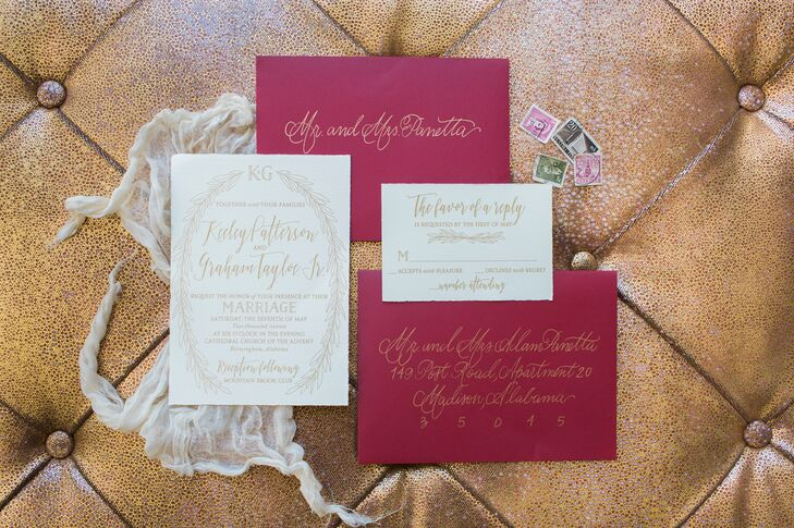 """I had ruby-colored envelopes to match the theme of our wedding. The invitations were addressed with casual calligraphy in gold by my sweet sorority sister, the new owner of the Script Studio and Elle James Bridal in Ridgeland, Mississippi,"" Keeley says."