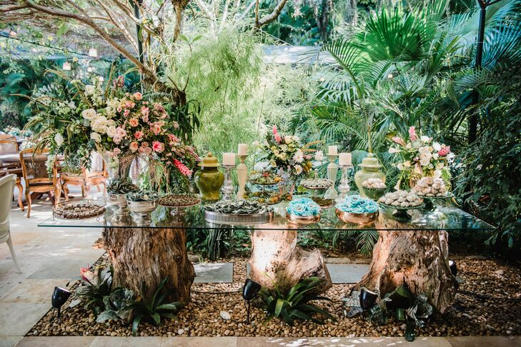 Tropical Tree Trunk and Glass Dessert Table