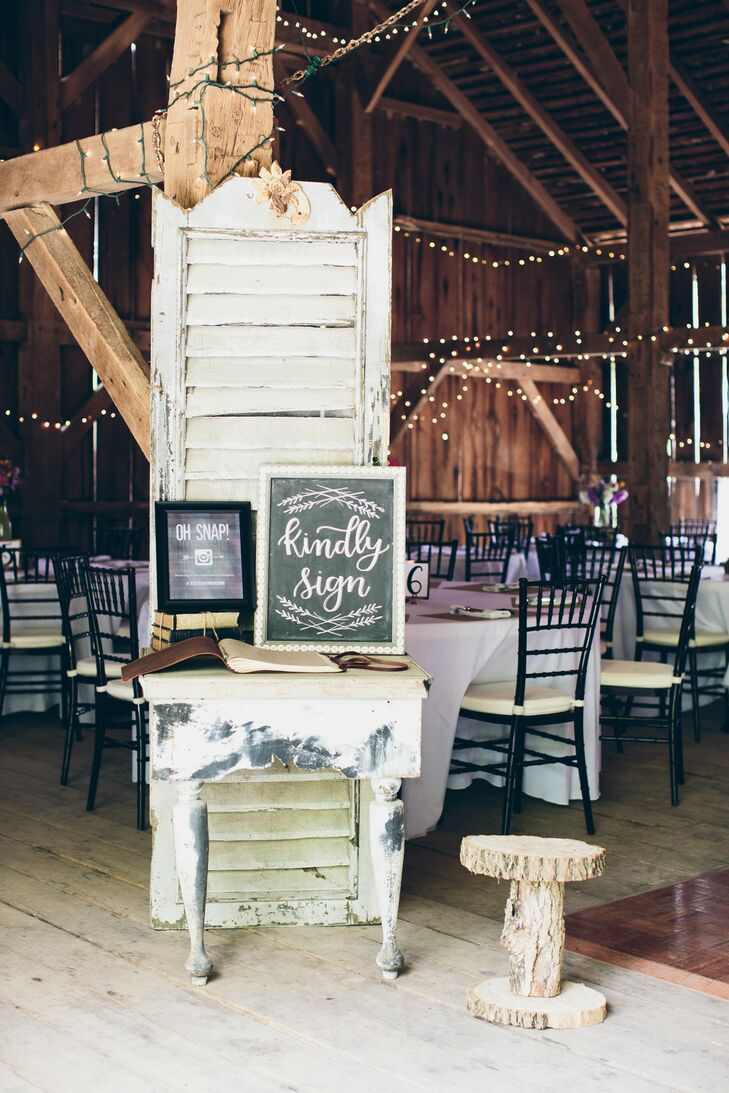 Vintage Guest Book Display with Chalkboard Sign